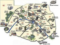Carte de Paris, plan des 90 principaux lieux