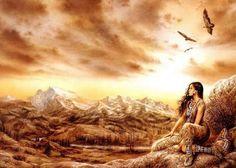 Alone - Luis Royo - elwenny - Photos Animal Spirit Guides, Spirit Animal, American Indian Art, Native American Indians, Native Americans, Sf Warriors, Dragons, 3d Landscape, Luis Royo