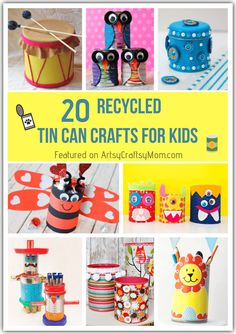 20 Recycled Tin Can Crafts for Kids is part of DIY Kids Crafts Recycle - Don't throw away old tin cans make recycled tin can crafts for kids instead! Whatever the shape or size of your tin cans, you can make something! Aluminum Can Crafts, Tin Can Crafts, Crafts For Kids To Make, Craft Activities For Kids, Craft Stick Crafts, Kids Crafts, Craft Sticks, Learning Activities, Kids Learning