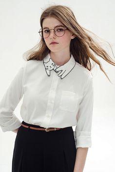 Cute Cat Embroidery Collar Blusa Feminino 2016 Spring Vintage White Blouse Long Sleeve Shirt Women Tops Tees Chemise Femme – Fashion Millions Collar Blouse, Collar Shirts, Shirt Blouses, Collar Top, Shirt Vest, Mode Xl, Vintage Inspired Fashion, Moda Fashion, Style Fashion