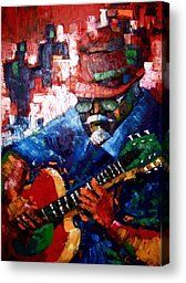 Jazz Guitar Player Painting by Pedro Brull - Jazz Guitar Player Fine Art Prints and Posters for Sale