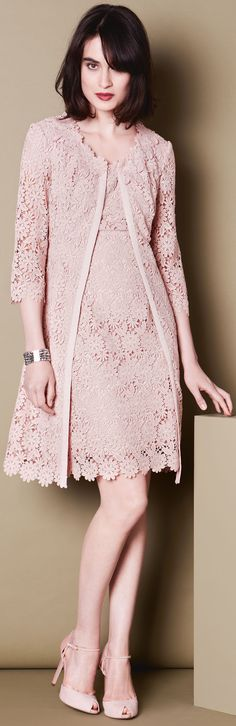 pinky beige / neutral pink lace dress for wedding or event - http://www.boomerinas.com/2014/08/29/11-cute-ways-to-wear-pastel-fashion-trend-for-fall-2014-winter-2015-chic-clothing-for-elegant-women/