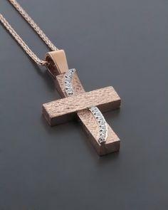 Σταυρός βάπτισης ροζ χρυσός & λευκόχρυσος Κ14 με Ζιργκόν Wall Crosses, Cross Jewelry, Cross Paintings, Jewelery, Jewelry Design, Pendants, Wedding Ideas, Earrings, Soldering