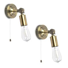 Pair Of - Vintage Steampunk Industrial Design Antique Brassed Effect Pull Cord Switch Adjustable Knuckle Joint Wall Lights