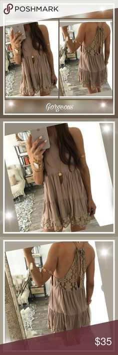 Gorgeous Boho sleeveless Khaki dress Brand new , straight from boutique,  Gorgeous Boho sleeveless Khaki mini dress, halter style,  shows a lot of back and shoulders but not backless,  great for beach and lounging around the cruise ship,  dress it up or wear casual,  very elegant and sexy. Love this style! Boutique Dresses