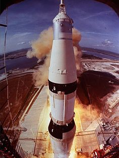 In this July 16, 1969 file photo provided by NASA, the Saturn V rocket that launched Neil Armstrong, Buzz Aldrin and Michael Collins on their Apollo 11 moon mission lifts off at Cape Kennedy, Fla.