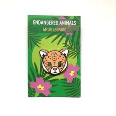 Amur Leopard Limited Edition Hard Enamel Pin// Endangered Animals//Cute//Kawaii// Illustrated Goods Amur Leopard, Hard Enamel Pin, Leopards, New Pins, Big Cats, Habitats, Childrens Books, Coloring Books, Kawaii