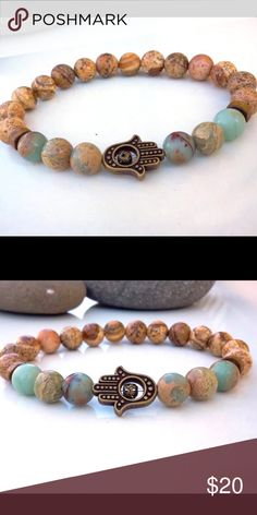 Jasper Stone Hamsa Bracelet (nwt)Coming Soon! Very pretty bracelet, brand new in package. Jasper stones. Coming Soon... Jewelry Bracelets