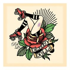 roller derby tattoo flash ideas and inspiration #pin-up #skate #rose