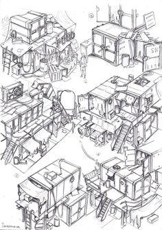 ::make shift businesses appear dotted here and there. food and drink are usually the first. less tasteful businesses appear soon after:: env obj 42 by TugoDoomER on DeviantArt Environment Concept, Environment Design, Fallout Concept Art, Fallout Art, Fallout 4 Settlement Ideas, Apocalypse Art, Apocalypse Landscape, Cyberpunk Anime, Anime City