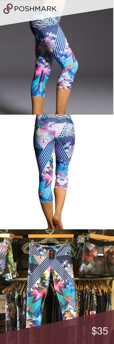 Onzie Capri Pants Onzie Juicy Leaf Capri Pants. Designed for hot yoga, soft and so cute! NEW with TAGS, prices are FIRM! Thanks! 🐠🌾💐😘🎉 Onzie Pants Capris