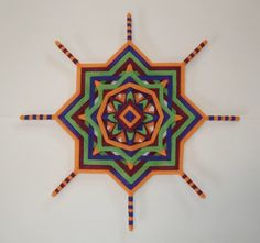 Radiant Joy 17 Ojo de Dios Yarn Mandala by HighDesertBohemian God's Eye Craft, Gods Eye, Spirograph, Medicine Wheel, Boho Inspiration, Creative Workshop, Mandala Painting, Leaf Pendant, String Art