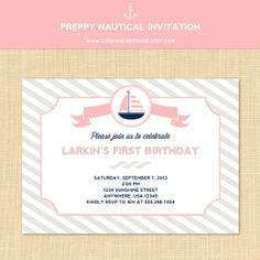Preppy Nautical Party Invitation Printable by SunshineInkStudio, $12.50
