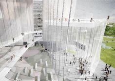 Primer Premio. Propuesta de SANAA. Imagen del proyecto. Taichung City Cultural Center. Señala encima de la imagen para verla más grande.