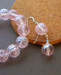Pink bracelet and earrings set by JulieEllisDesigns