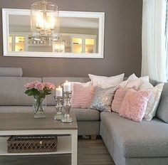 modern pink and grey living room More