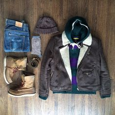 In and out of the car kinda day. @ZaraUSA moto shearling (2011). RL Rugby cable knit hoodie. @nudiejeans. @redwingheritage 8in #FLATLAY #FLATLAYAPP #FLATLAYS www.theflatlay.com