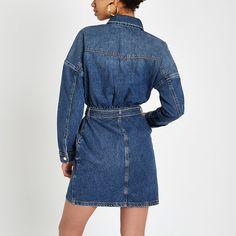 a40a9819e4b Blue belted denim shirt dress - Shirt Dresses - Dresses - women