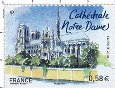 Sello: Monuments of Paris - Notre-Dame (Francia) (European Capitals) Yt:FR Monuments, Paris Painting, Interesting Buildings, Vintage Paris, Mail Art, Travel Posters, Postage Stamps, Corsica, History