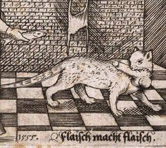 A 16th-century cat running off with a penis.
