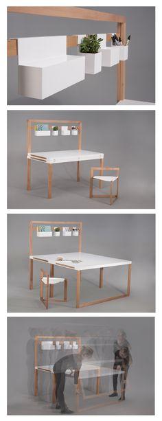 Mobile desk for students with hidden seats / Mebel Dyplomowy Akademia Sztuki w Szczecinie , Małgorzata Swoboda  Projekt TURN - mobilne biurko dla studentów z ukrytymi siedziskami