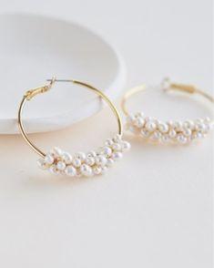 Shop Wedding Accessories On Sale Pearl Bridesmaid Jewelry, Pearl Earrings Wedding, Rhinestone Wedding, Bridal Earrings, Etsy Earrings, Bridal Jewelry, Pearl Bridal, Hoop Earrings, Pearl Headband