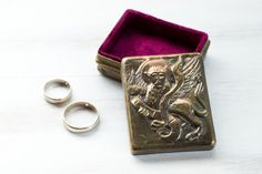 Vintage Copper Brass Jewelry Ring Bearer Box in great condition. It has Red Velvet inside. Perfect for your Wedding or Engagement. Measurements