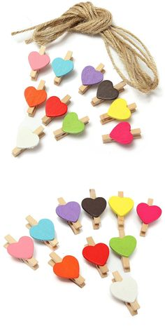 HOT GCZW-10Pcs Mini Heart Photo Memo Clips Wooden Pegs Crafts Party Favor  Hanging f09479c2e75a8