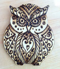 Owl Ornament, Brooch, or Magnet - Hand-Burned on Wood - Made to Order on Etsy, $15.00