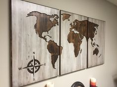A personal favorite from my Etsy shop https://www.etsy.com/listing/264790998/wood-world-map-wall-art-carved-3-panel