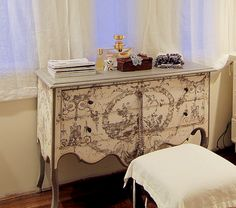 White with black painted toile chest