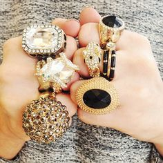 Rings on rings on rings. Wild Style, My Style, Sparkly Jewelry, Cute Little Things, Statement Jewelry, Latest Fashion Trends, Fingers, Bag Accessories, Bracelet Watch