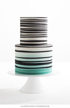 Black and White Stripes with a splash of color | by Allison Kelleher for TheCakeBlog.com