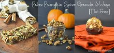 Paleo Pumpkin Spice Granola 3 Ways {nut-free} Makes 18 bars, 36 balls, and 3.5 cups granola cereal #FedandFit
