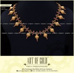 A simple gold necklace with artfully placed stones of elegant red shade. Browse for more simple gold necklace designs. Simple Necklace Designs, Gold Necklace Simple, Gold Jewelry Simple, Gold Earrings Designs, Gold Jewellery Design, Long Gold Necklaces, Short Necklace, Jewelry Stores Near Me, Schmuck Design