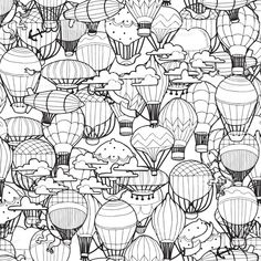 Patrón sin fisuras de diferentes aire caliente globos en el cielo. Mano ilustración dibujado en estilo Retro. patrón sin fisuras de diferentes aire caliente globos en el cielo mano ilustración dibujado en estilo retro - arte vectorial de stock y más imágenes de colorear libre de derechos