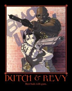 """Dutch and Revy, from """"Black Lagoon"""" Revy Black Lagoon, Black Lagoon Anime, Dc Anime, Anime Guys, Anime Art, Anime Motivational Posters, Fox Spirit, Video Game Anime, Animation Reference"""