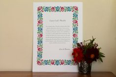 Personalised Floral Garland Wedding Vows Reading by KitchCards, £15.00