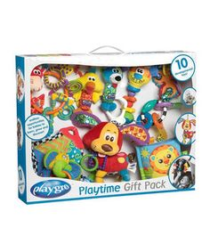 It's so much fun watching babies discover their senses! This gift set includes a variety of developmental toys that encourage them develop their fine motor skills. Little ones will love the adorable characters and textures, and the vibrant colors will delight their eyes.