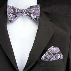 Purple Black Paisley Mens Bow Tie & Hanky Pocket Square Wedding Fashion Set New #TiesJustForYou #BowTie