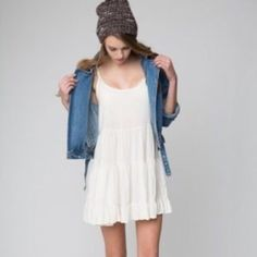 Brandy Jada - white Brandy Melville white Jada dress! Never worn and still has tags. There is a small rip on the bottom (not sure what from) that has been repaired. Not at all noticeable unless you're looking up close. Open to trading! Brandy Melville Dresses Mini