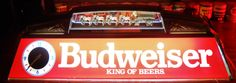 Rare BUDWEISER KING OF BEERS CLYDESDALE WAGON TEAM LIGHTED POOL TABLE LIGHT w/working clocks, circa 2000