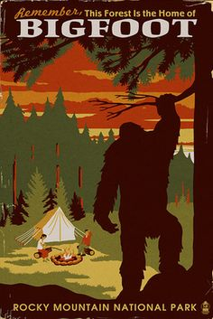 Rocky Mountain National Park - Home of Bigfoot - Lantern Press Artwork