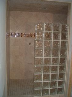glass block showers - This is nice, too....