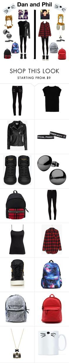 """""""DAN AND PHIL"""" by plushierhino ❤ liked on Polyvore featuring Paige Denim, Isabel Marant, IRO, Yves Saint Laurent, AG Adriano Goldschmied, H&M, Madewell, Giuseppe Zanotti, Betsey Johnson and danisnotonfire"""