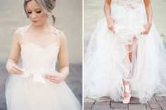 Genevieve beaded gown with lace straps and removable tulle skirt by Mignonette Bridal, featured today on Green Wedding Shoes!   http://www.mignonettebridal.com
