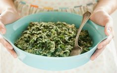 Creamed Kale - Nondairy milk and cashews combine to create a creamy sauce for kale or your favorite leafy greens. Serving:140 calories (60 from fat), 6g total fat, 1g saturated fat, 0mg cholesterol, 90mg sodium, 16g carbohydrate (3g dietary fiber, 3g sugar), 9g protein.