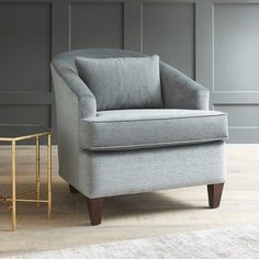 This chair but in the darker Empire Shadow fabric - AllModern Custom Upholstery Evelyn Barrel Chair