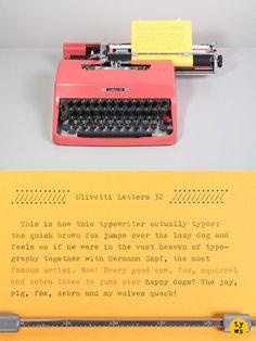 1965 Pink Olivetti Lettera 32 Typewriter.