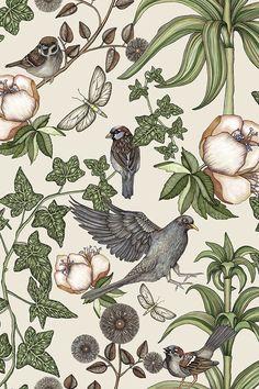 Wallpaper for all types of settings – choose from hundreds of motifs. Middleton Lodge, Baby Buddha, Winter Flowers, Birds 2, Custom Wallpaper, William Morris, Surface Pattern, Botanical Illustration, Cake Art